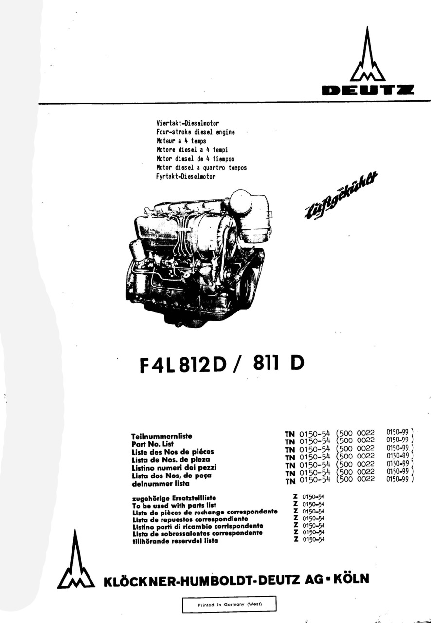 F4 L 812 D-811 D - Ersatzteilliste / Spare parts catalogue / Catalogue de pièces de rechange / Lista de repuestos