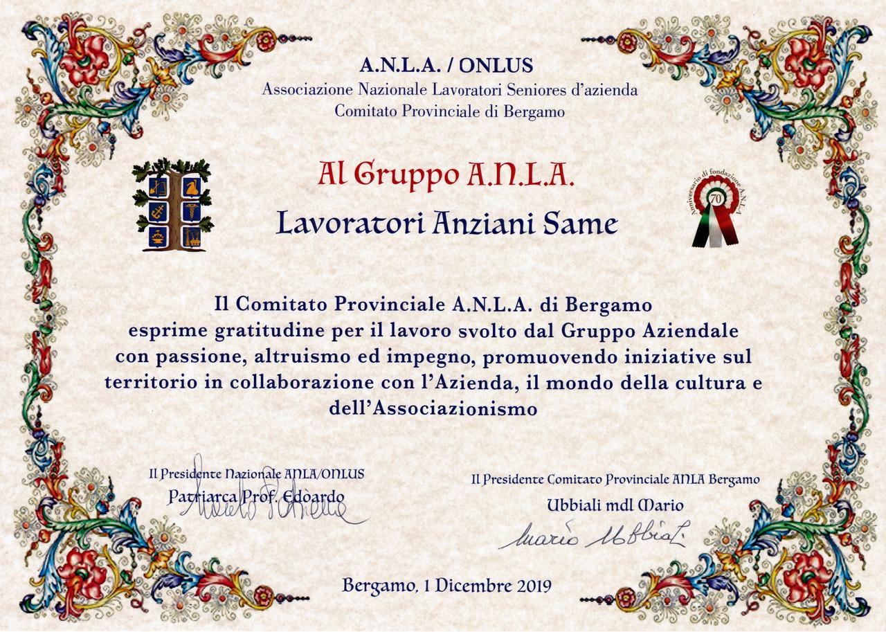 Premio consegnato dall'Associazione Nazionale Lavoratori Seniores d'azienda al GLAS