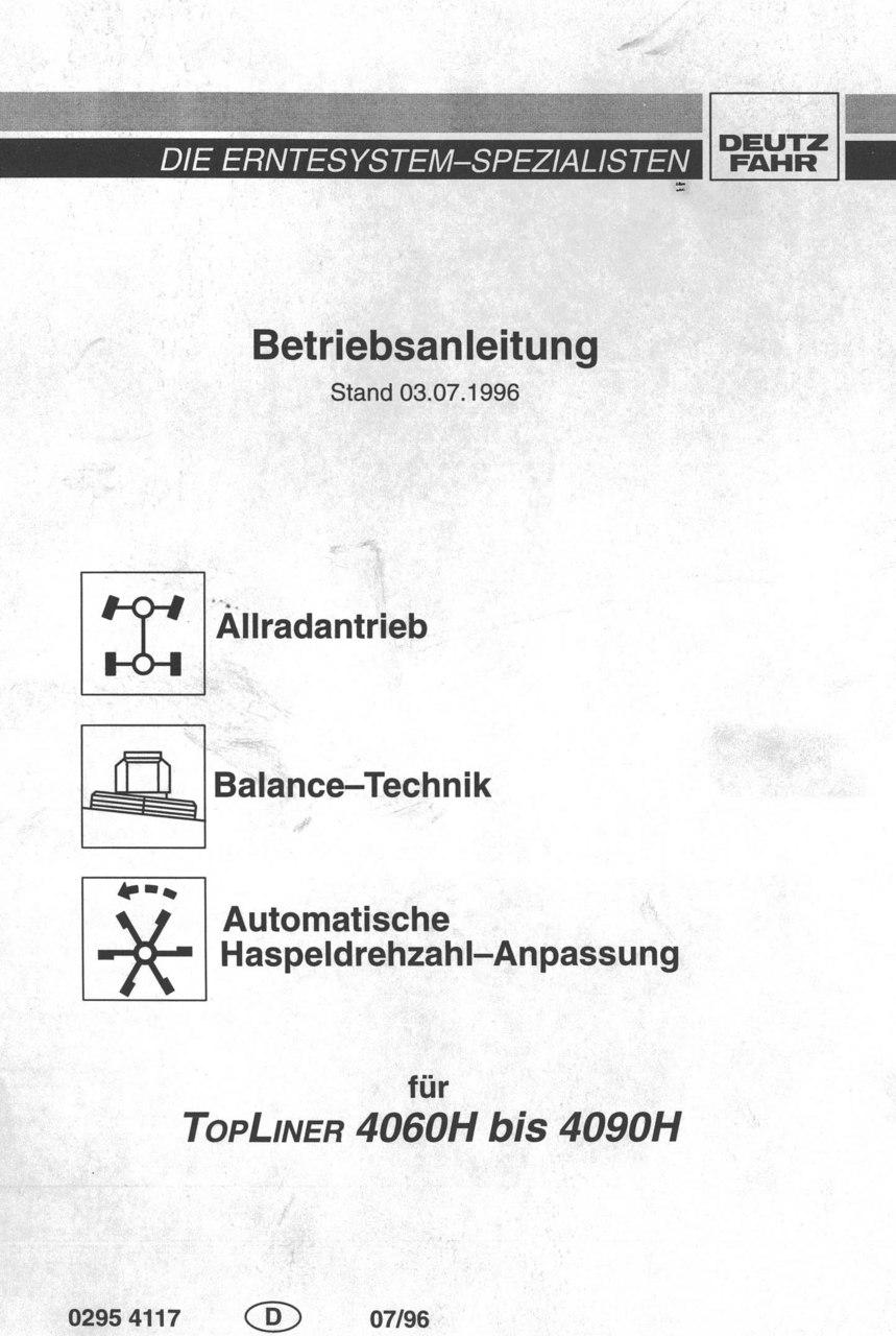 TOPLINER 4060 H bis 4090 H - Betriebsanleitung