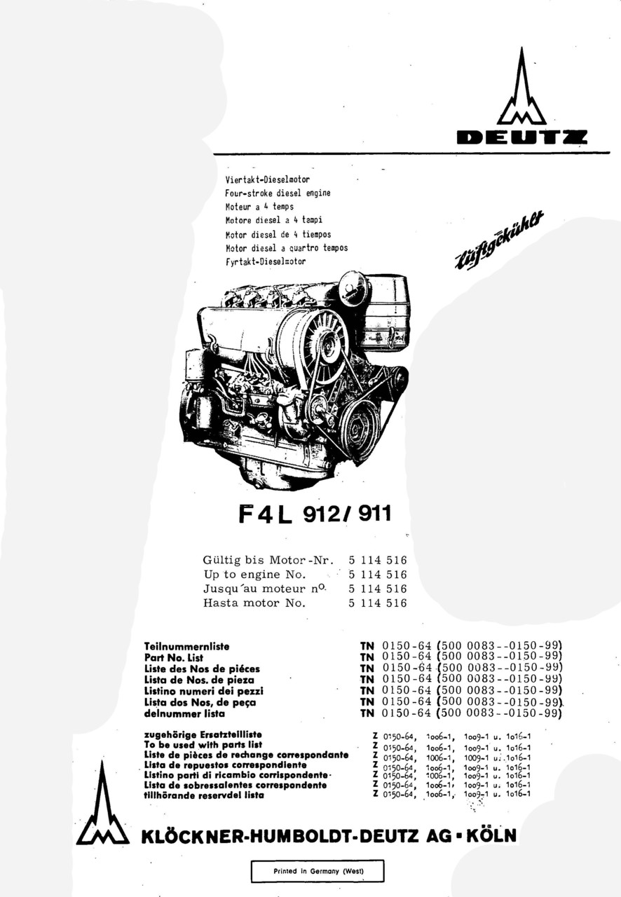 F4 L 912-911 - Ersatzteilliste / Spare parts catalogue / Catalogue de pièces de rechange / Lista de repuestos