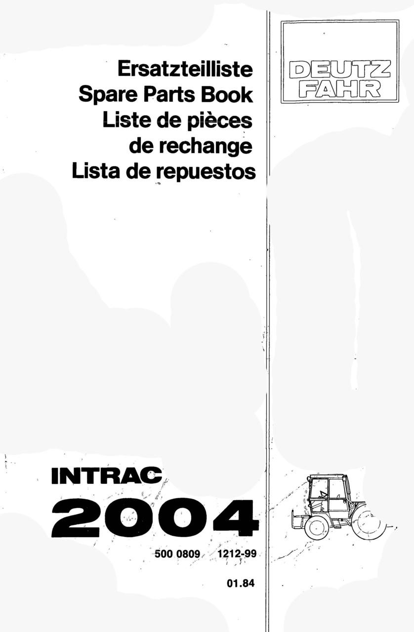 INTRAC 2004 - Ersatzteilliste / Spare Parts Book / Liste de pièces de rechange / Lista de repuestos