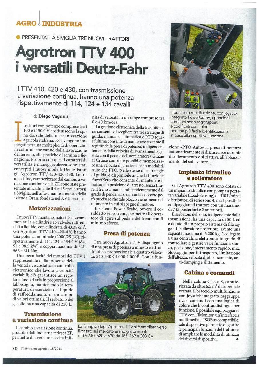 Agrotron TTV 400 i versatili Deutz-Fahr