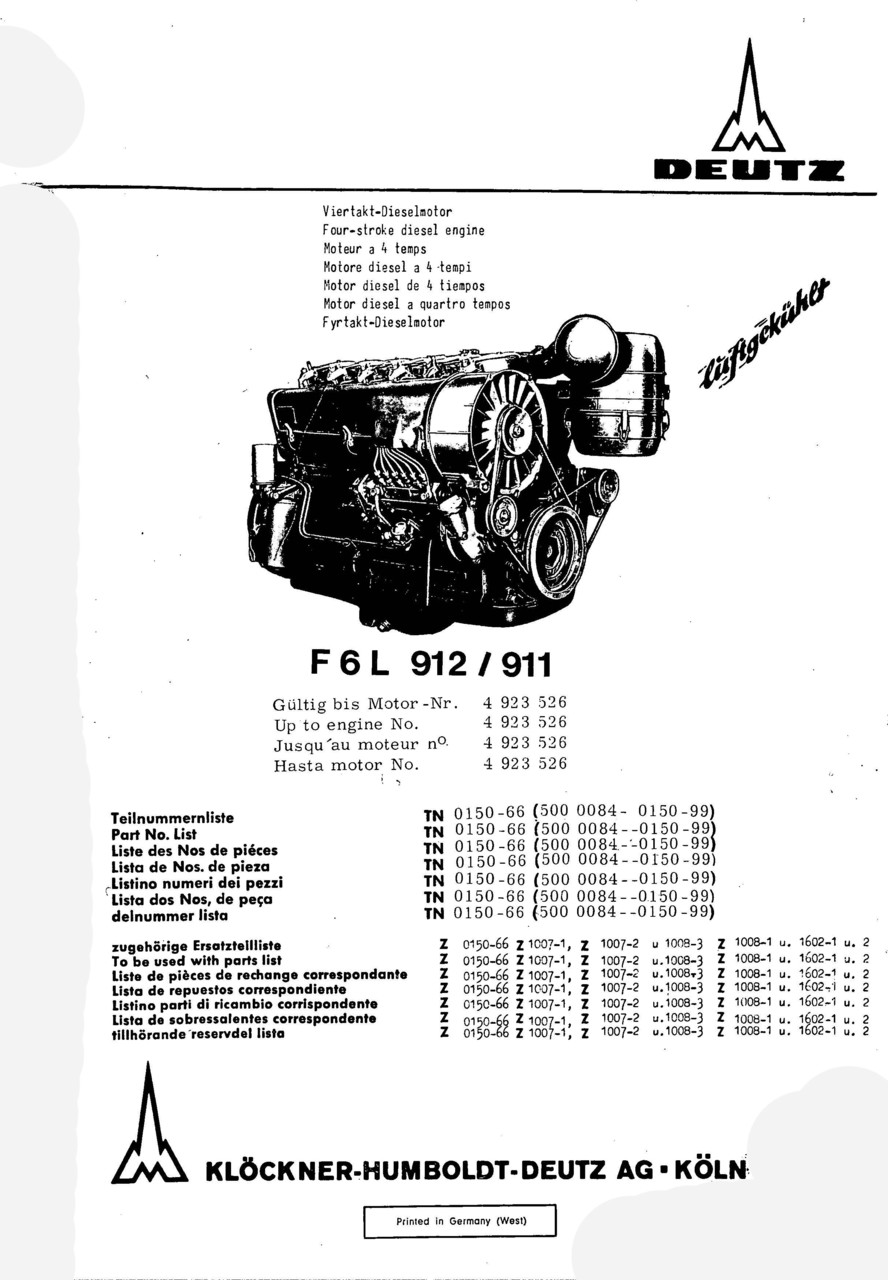 F6 L 912-911 - Ersatzteilliste / Spare parts catalogue / Catalogue de pièces de rechange / Lista de repuestos