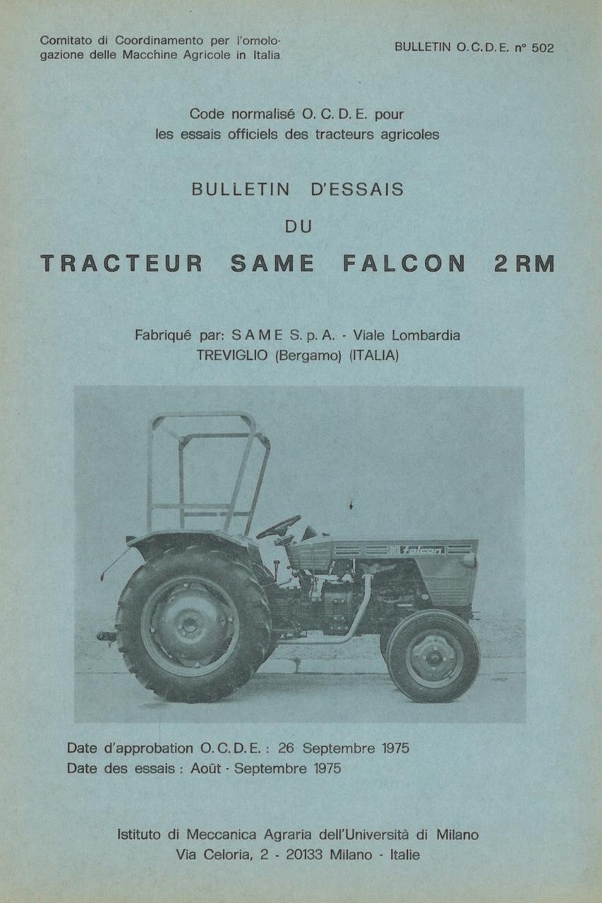 Bulletin d'essais de tracteur SAME Falcon 2RM