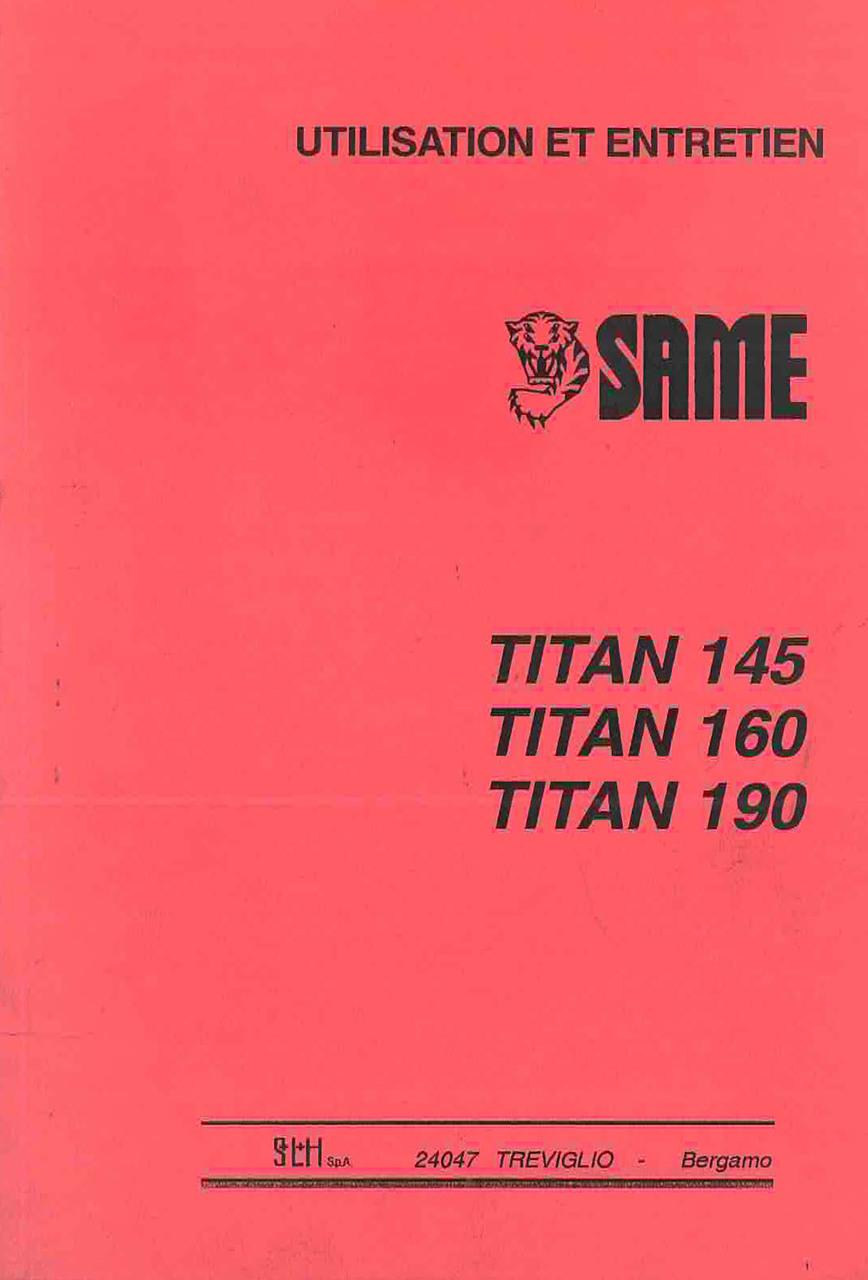 TITAN 145 - 160 - 190 - Utilisation et entretien