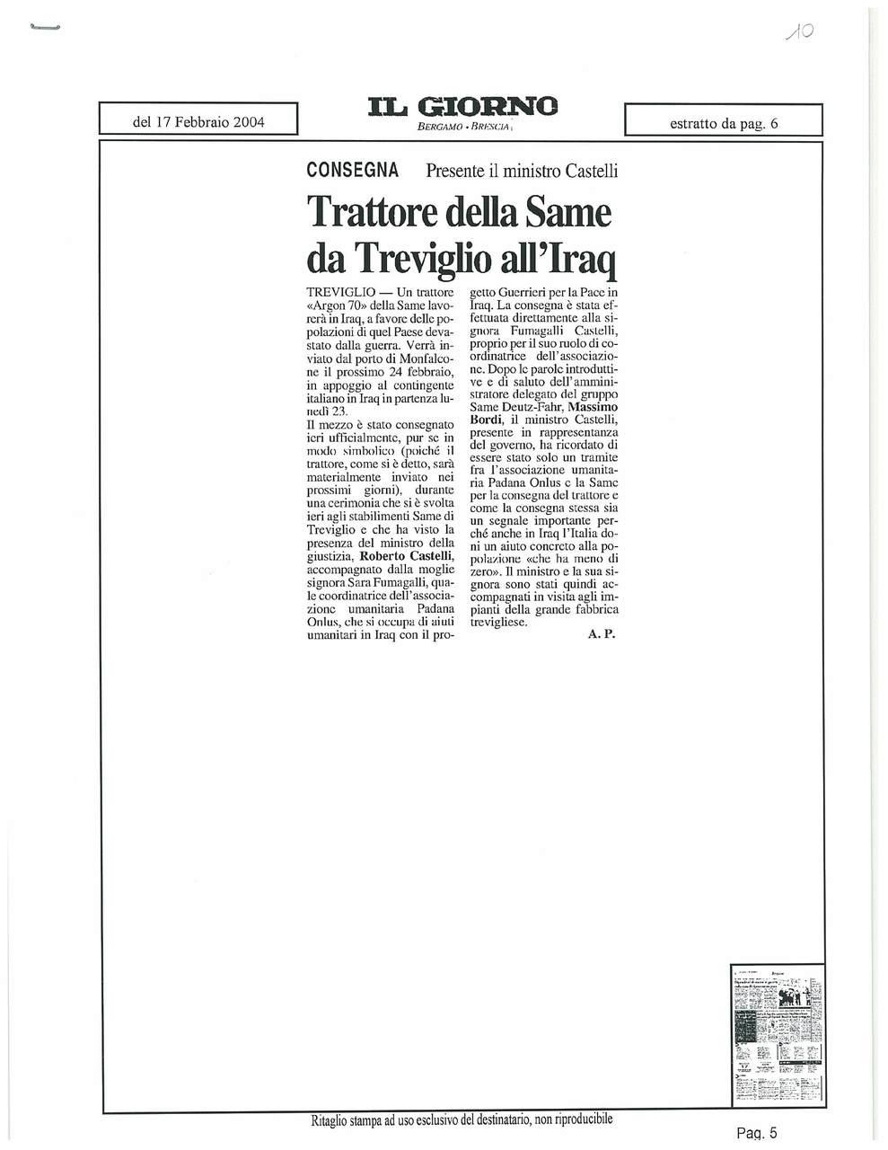 Trattore della SAME da Treviglio all'Iraq