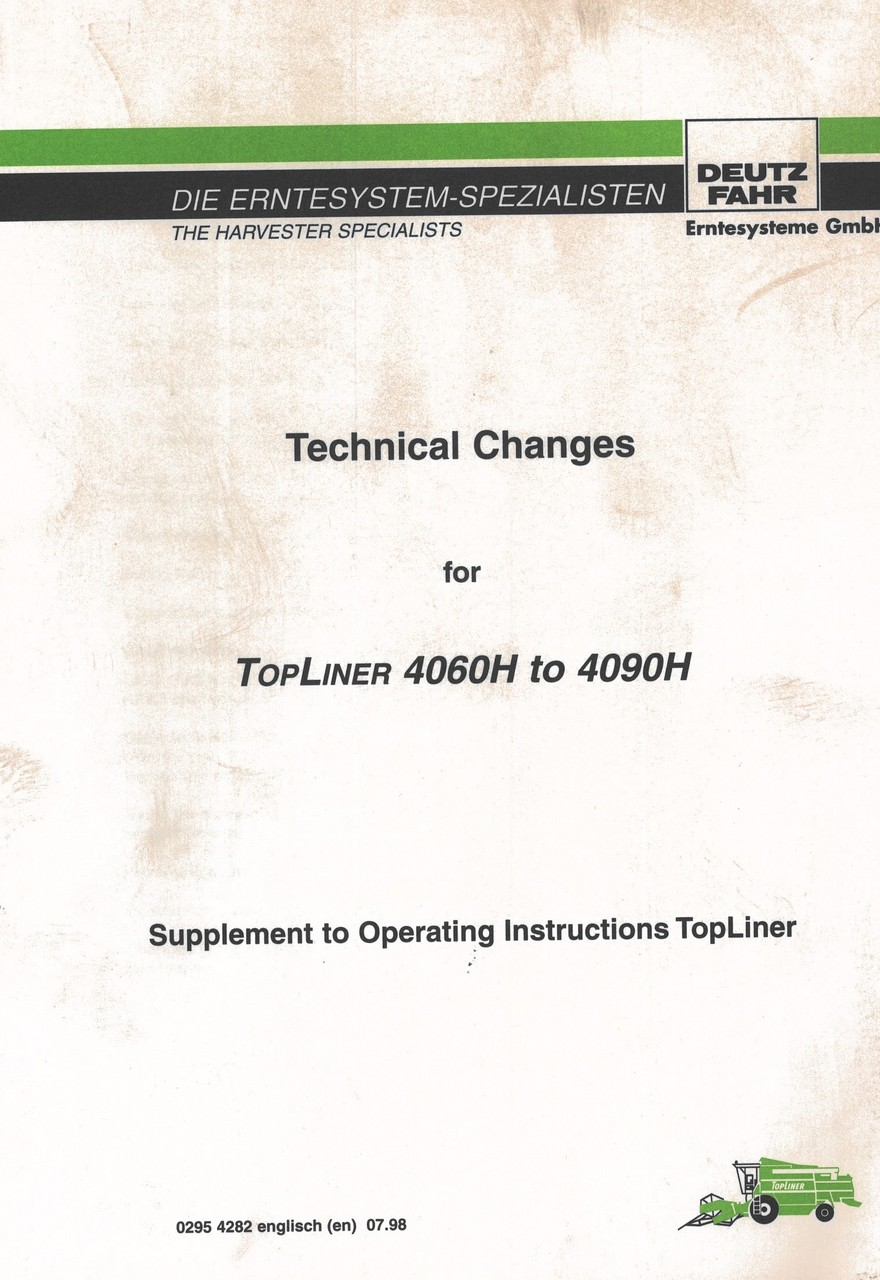 TOPLINER 4060 H to 4090 H - Supplement to operating instructions