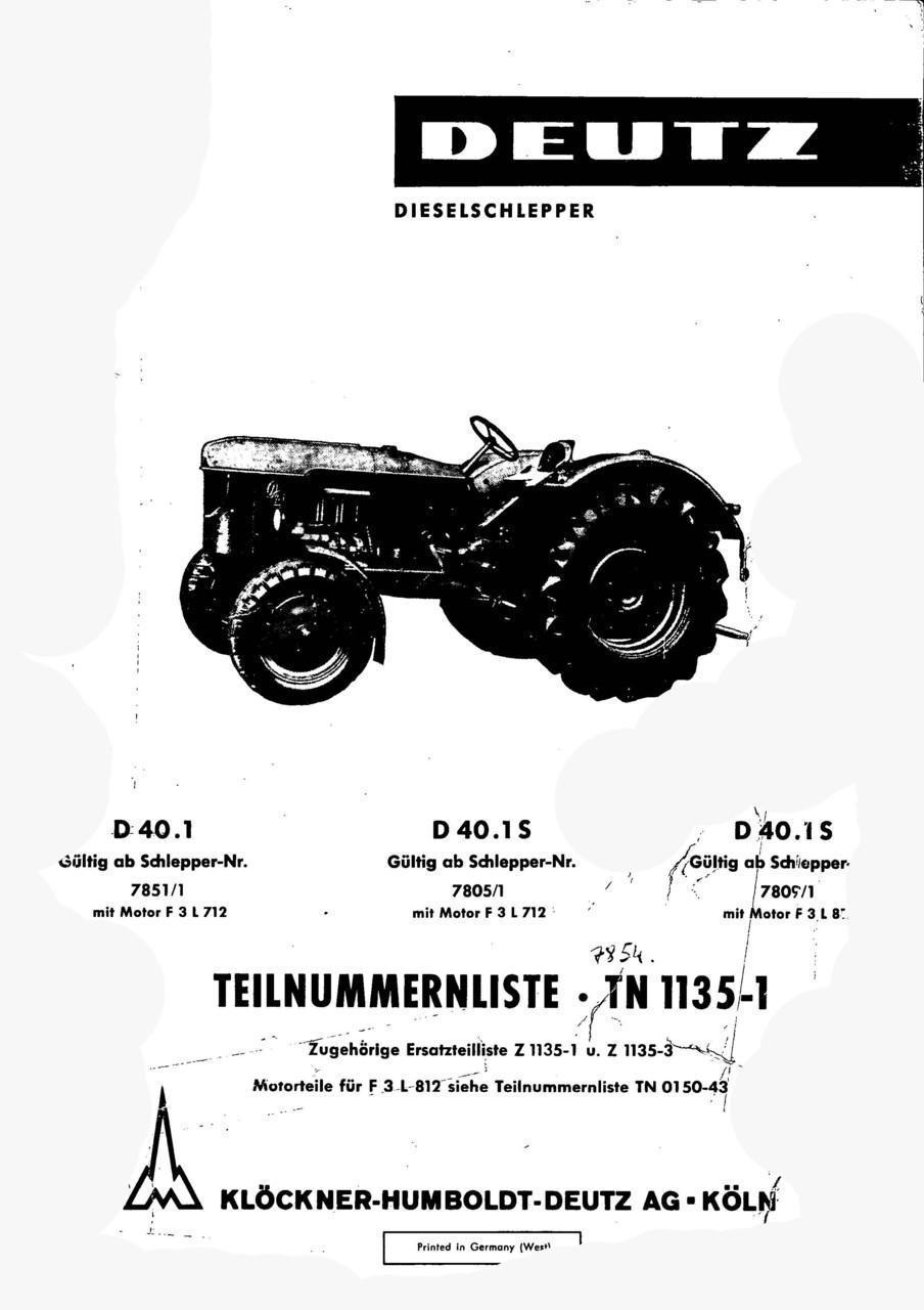 D 40.1-D 40.1 S - Ersatzteilliste