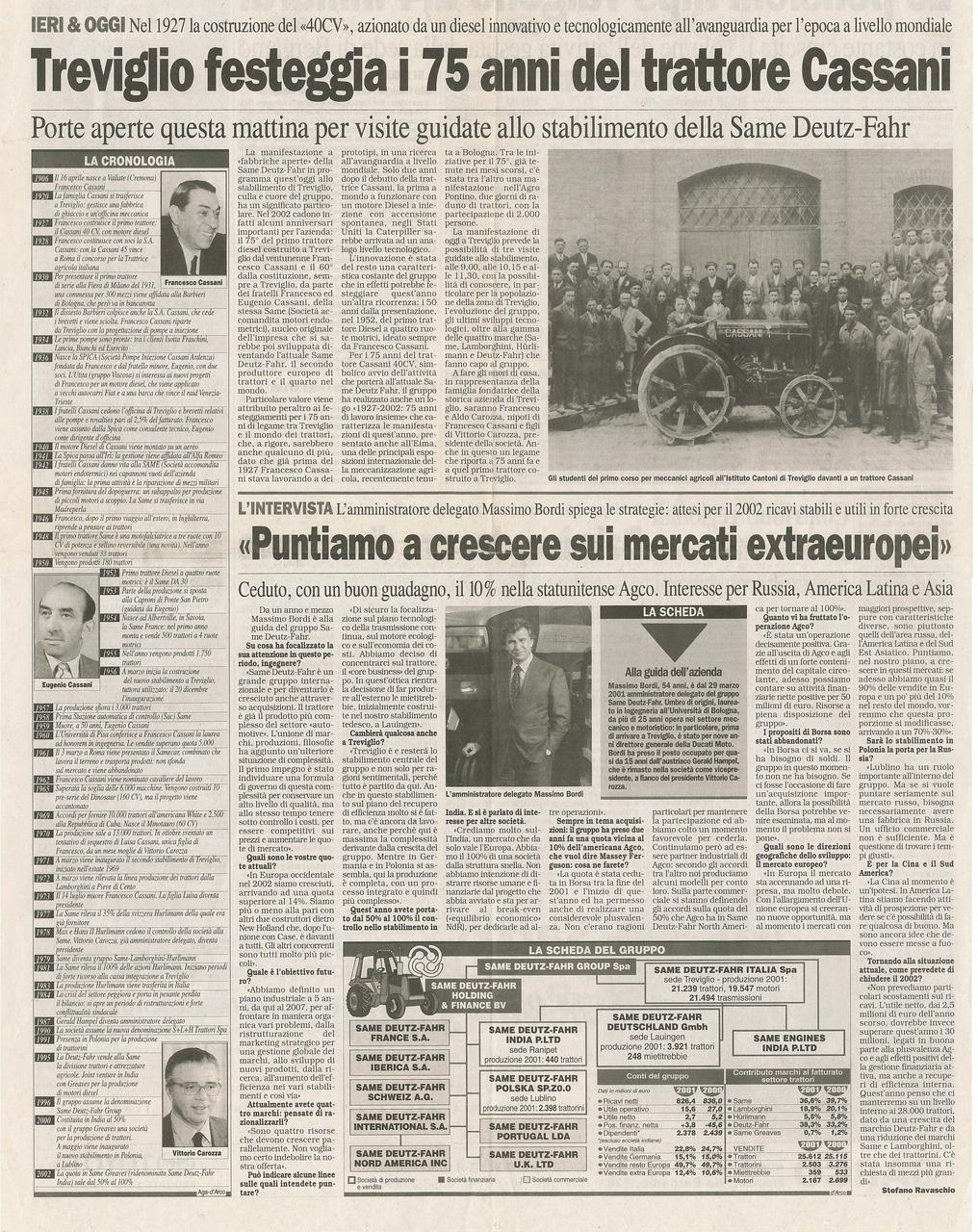 Treviglio festeggia i 75 anni del trattore Cassani