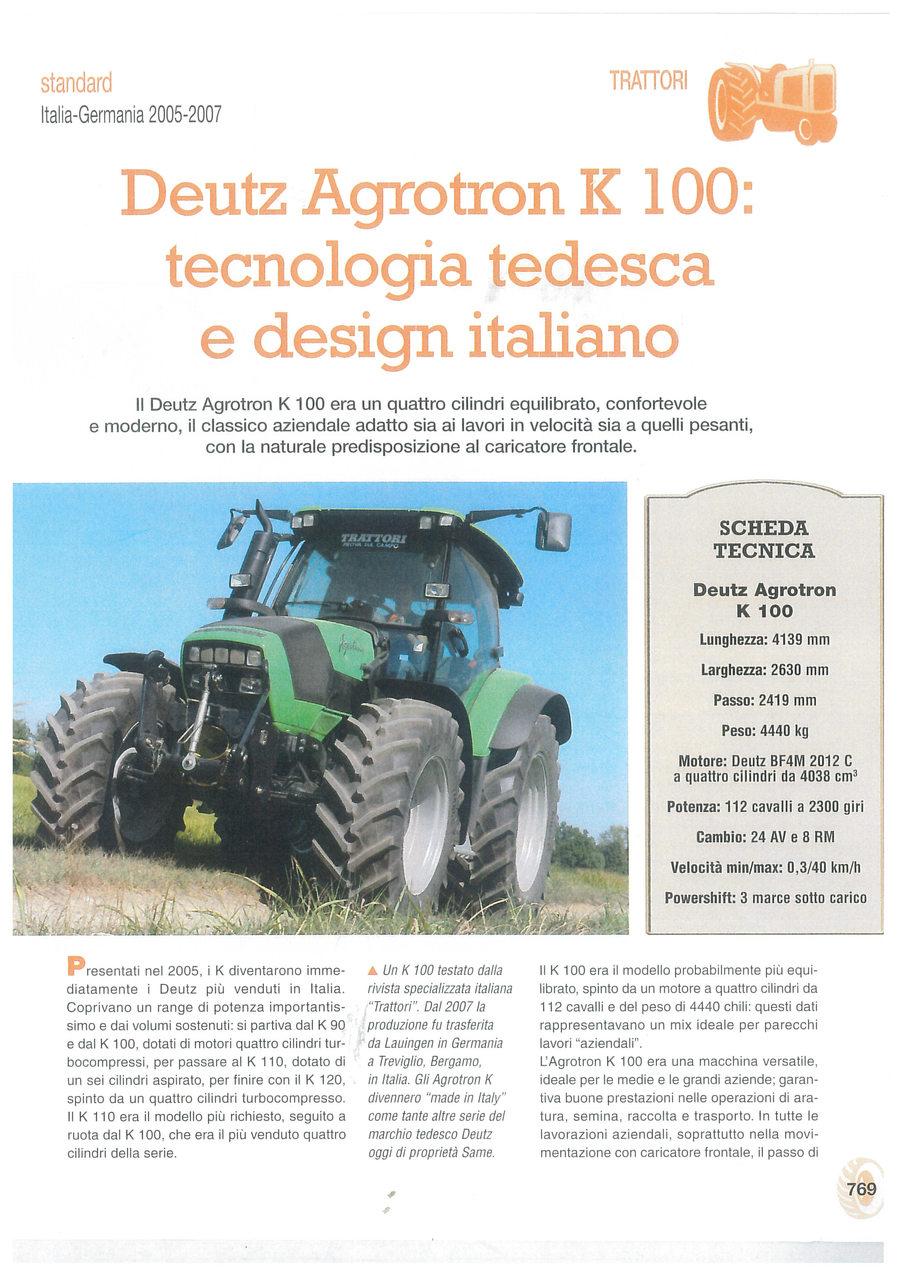 Deutz Agrotron K 100: tecnologia tedesca e design italiano