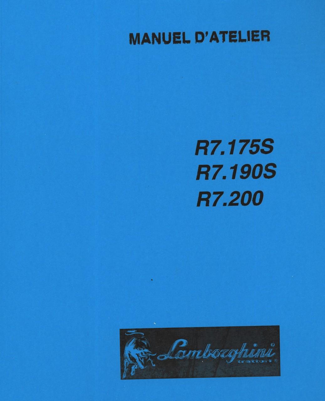 R7.175 S - R7.190 S - R7.200 - Manuel d'atelier