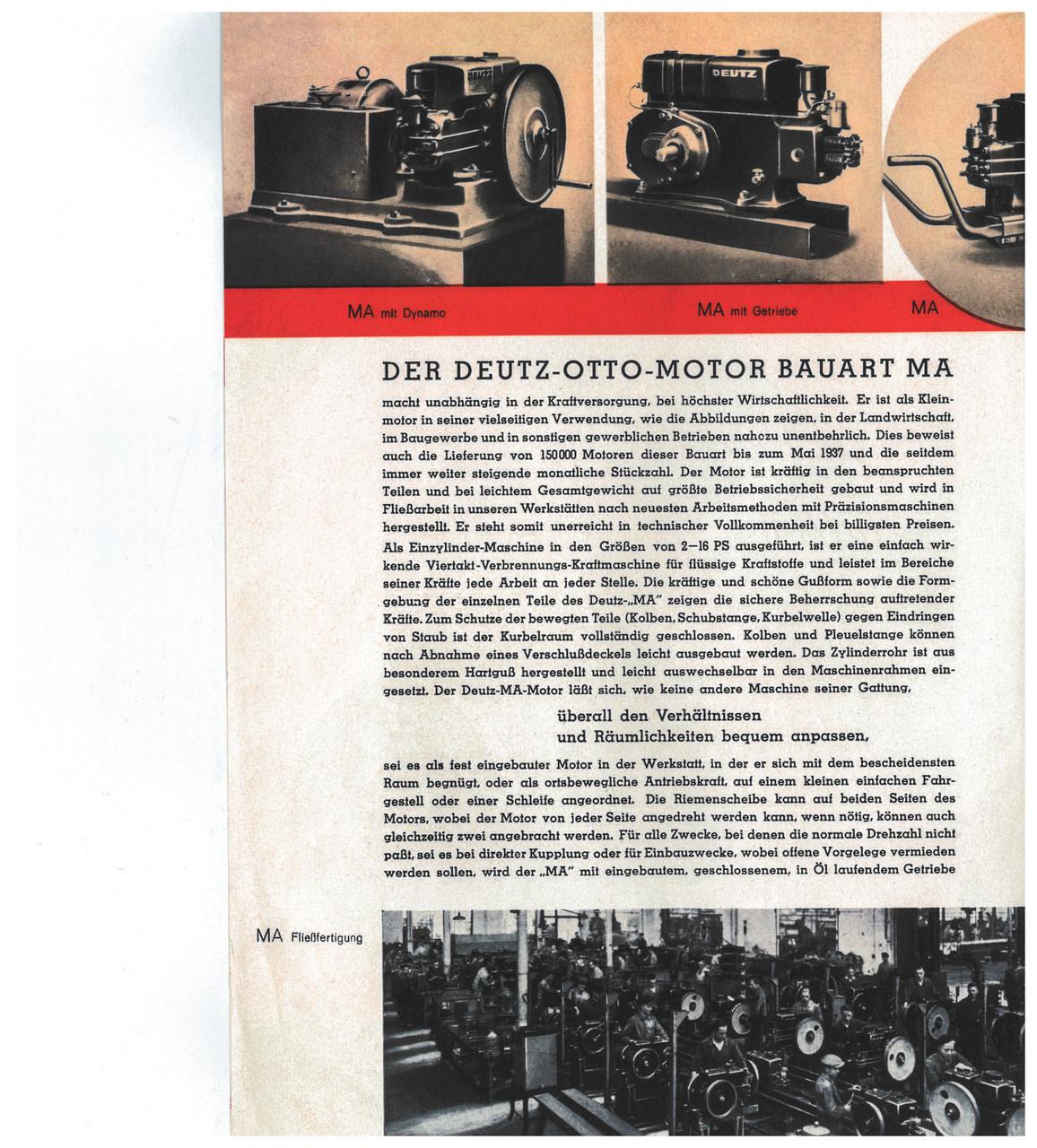 """DEUTZ-OTTO-MOTOR / BAUART """"MA"""""""