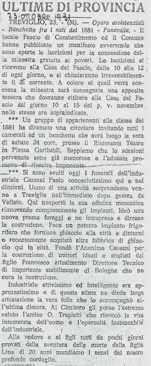 """""""Ultime di Provincia"""":necrologio di Paolo Cassani"""