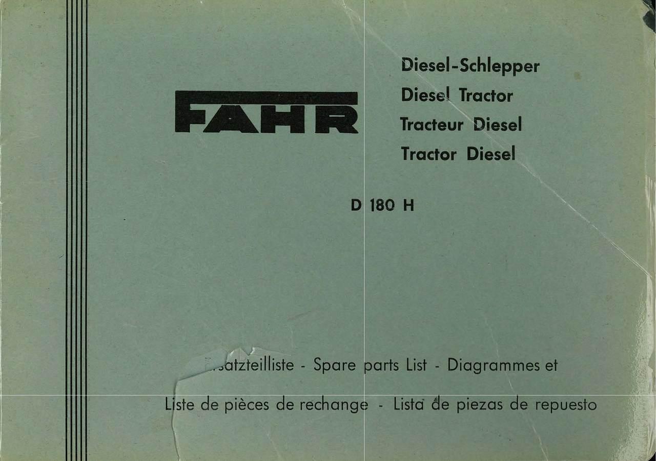 D 180 H - Catalogue des Pièces de Rechange / Spare Parts Catalogue / Catàlogo Piezes de Repuesto / Ersetzteilkatalog
