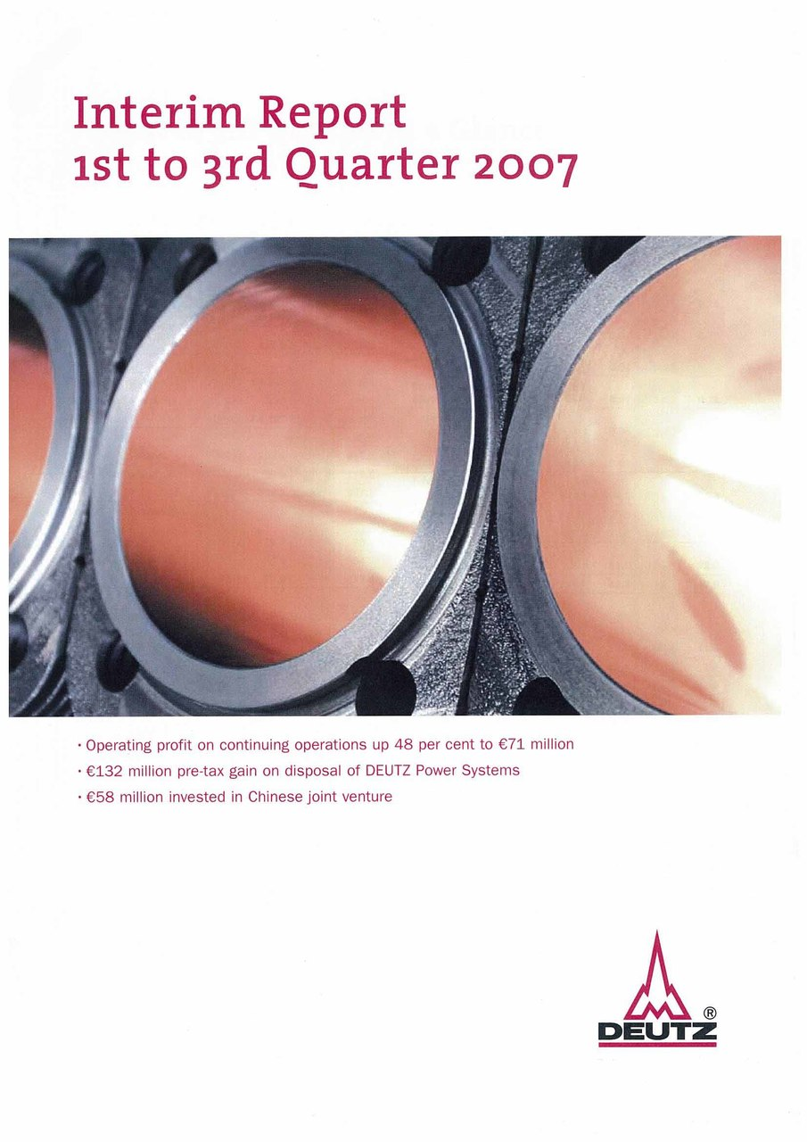 Deutz: Interim Report 1st to 3rd Quarter 2007