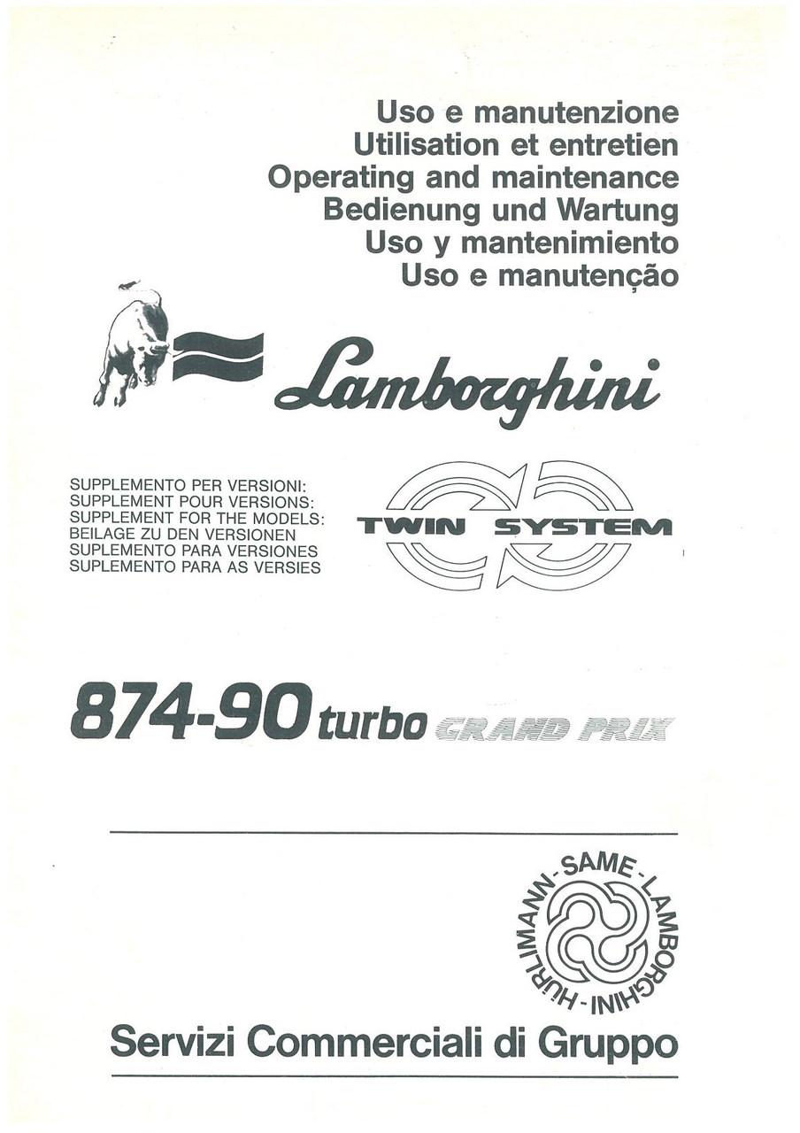 874- 90 TURBO GRAND PRIX - Libretto Uso & Manutenzione