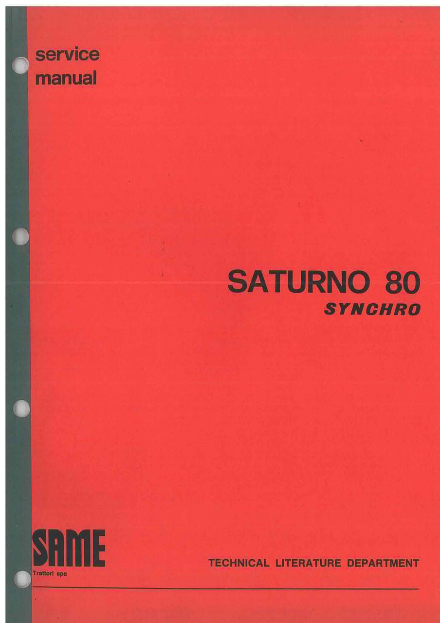 SATURNO 80 SYNCRHO - Workshop manual
