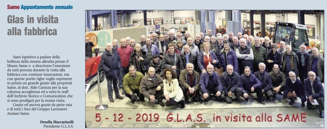 Glas in visita alla fabbrica