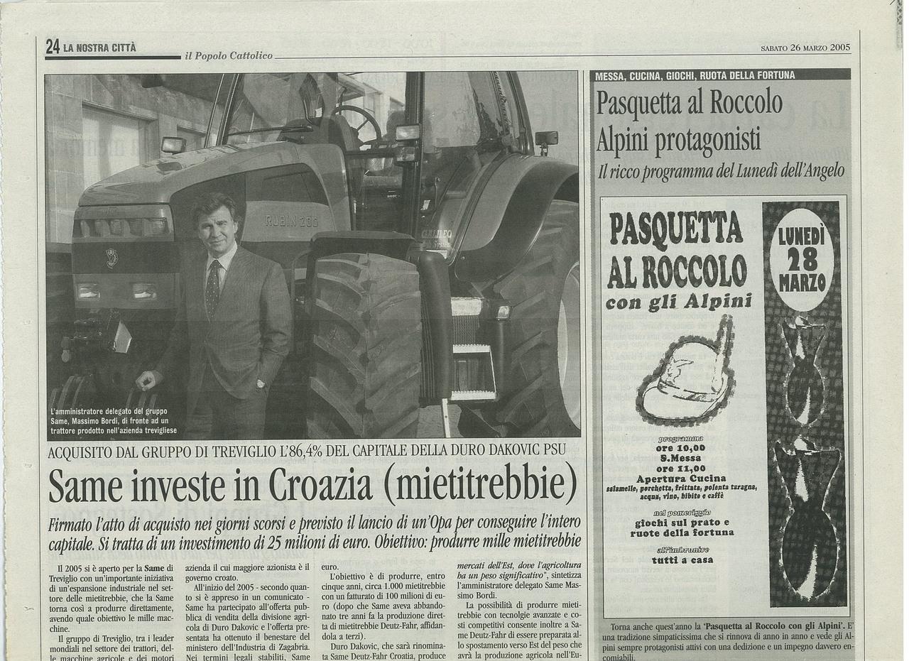 SAME investe in Croazia (mietitrebbie)