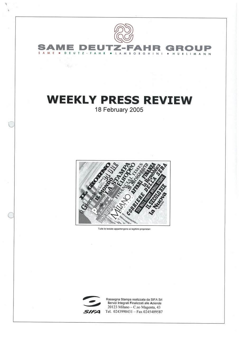 Rassegna stampa febbraio 2005
