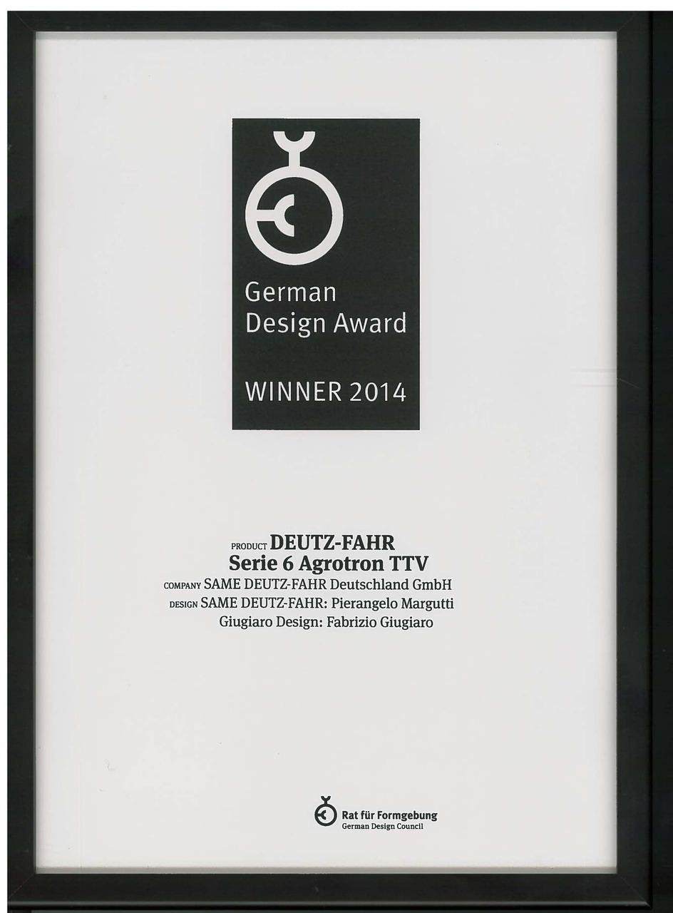 German Design Award Winner 2014 - Deutz-Fahr Serie 6 Agrotron TTV