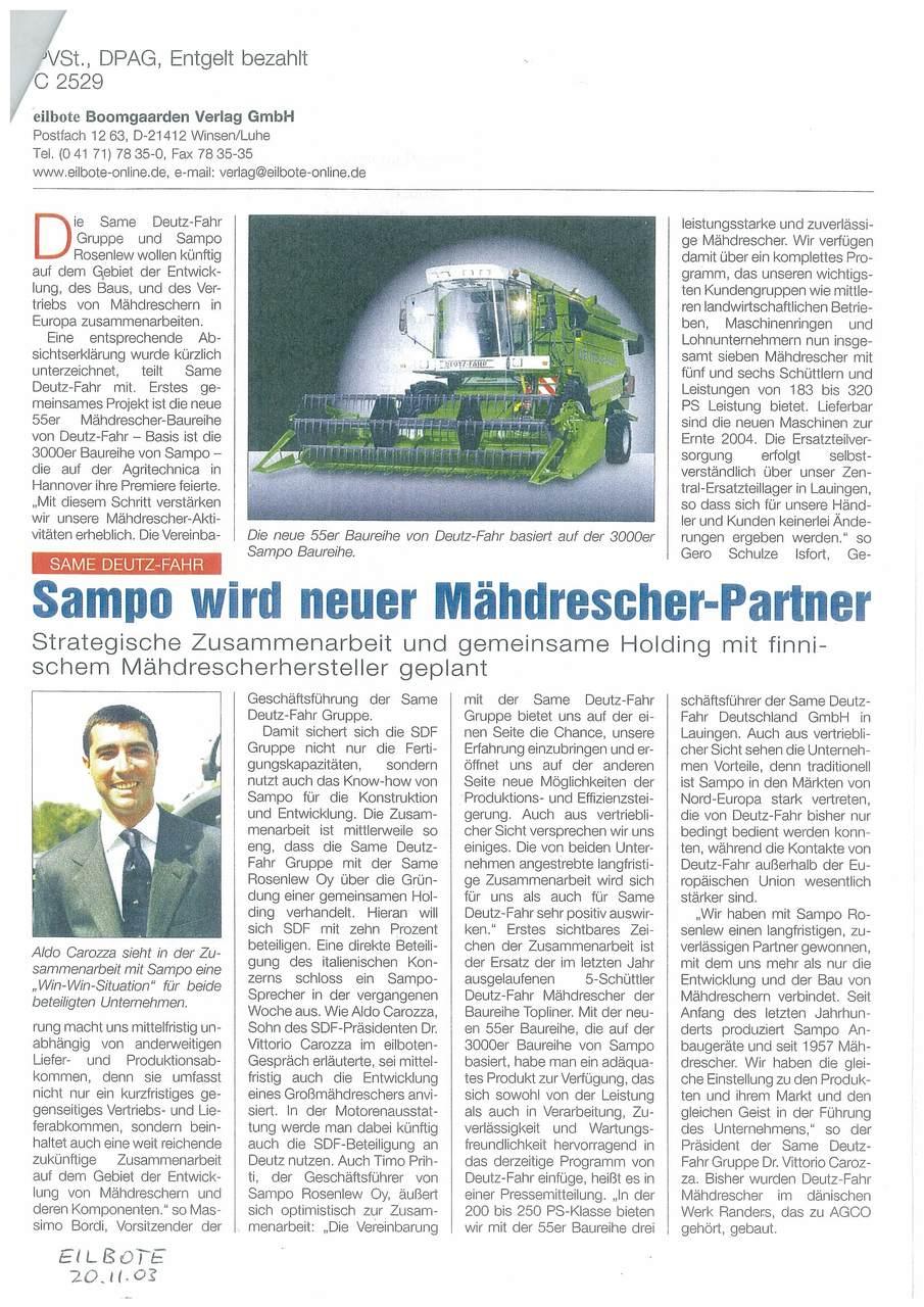 Sampo wird neuer Mähdrescher -Partner