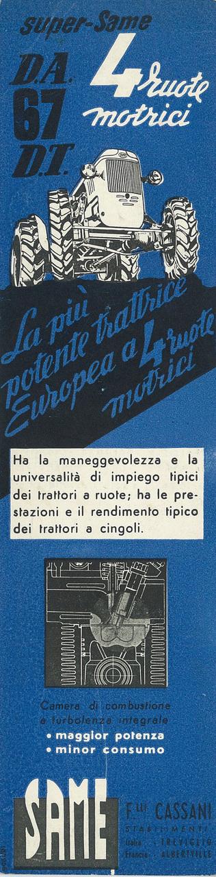 Super Same DA 67 a 4 Ruote Motrici - Super Cassani DA 47 a 4 Ruote Motrici
