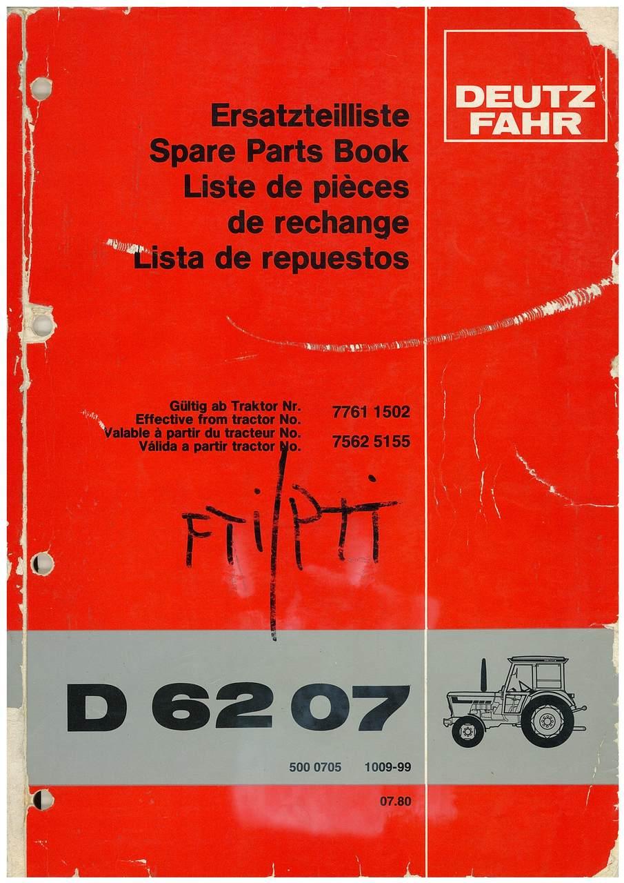 D 6207 - Ersatzteilliste / Spare Parts Book / Liste de pièces de rechange / Lista de repuestos