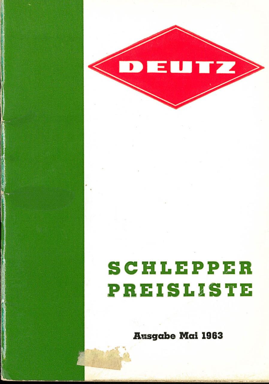 Deutz / Schlepper / Preisliste / Ausgabe 1. Mai 1963