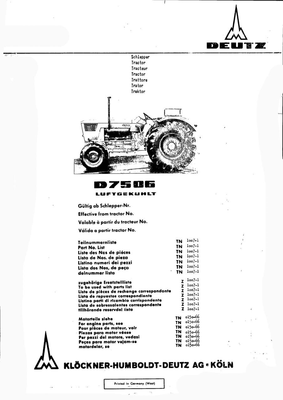 D 7506 - Ersatzteilliste / Spare parts catalogue / Catalogue de pièces de rechange / Lista de repuestos