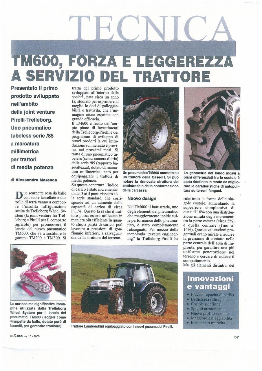TM600, forza e leggerezza a servizio del trattore