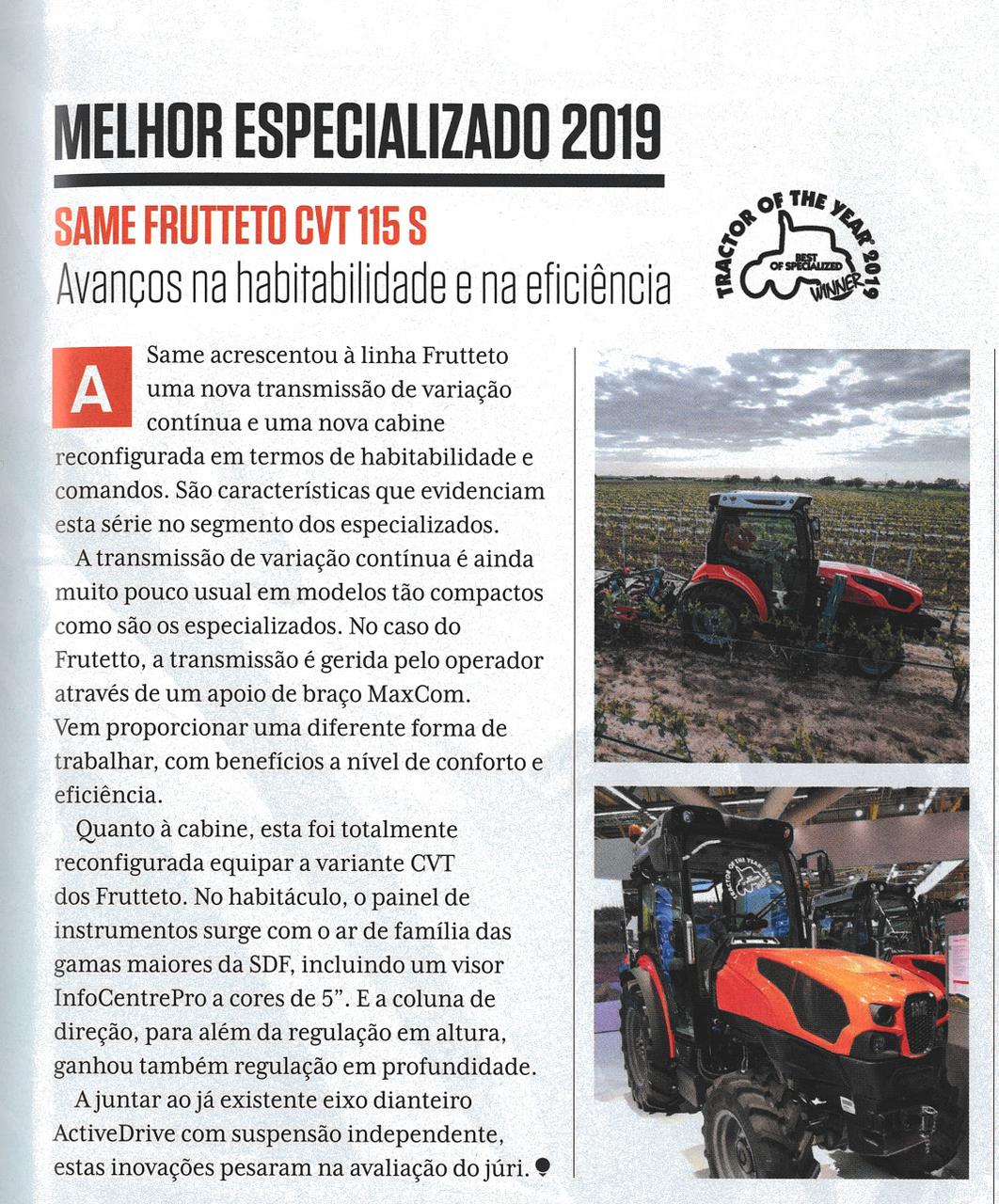 Melhor especializado 2019 / Same Frutteto CVT 115 S. Avanços na habitabilidade e na eficiência