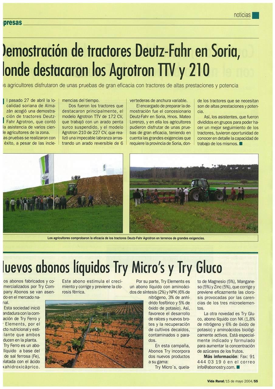 Demostracion de tractores Deutz-Fahr en Soria, donde sedtacaron los Agrotron TTV y 210