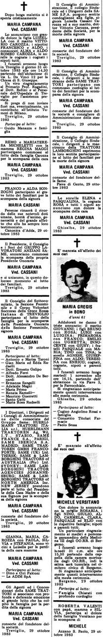 Necrologio Maria Campana ved. Cassani,