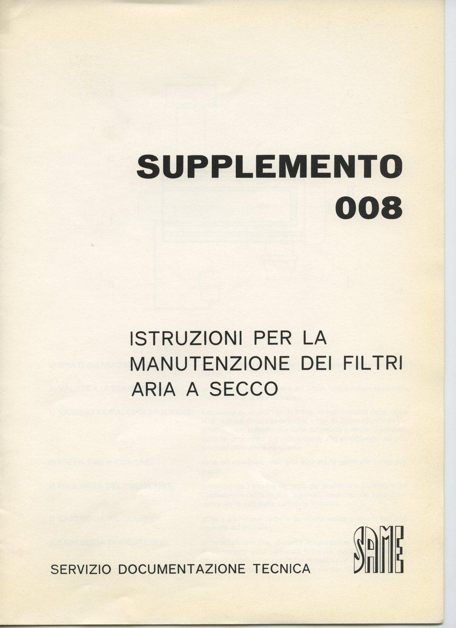 Supplemento 008 - Istruzioni per la manutenzione dei filtri aria a secco
