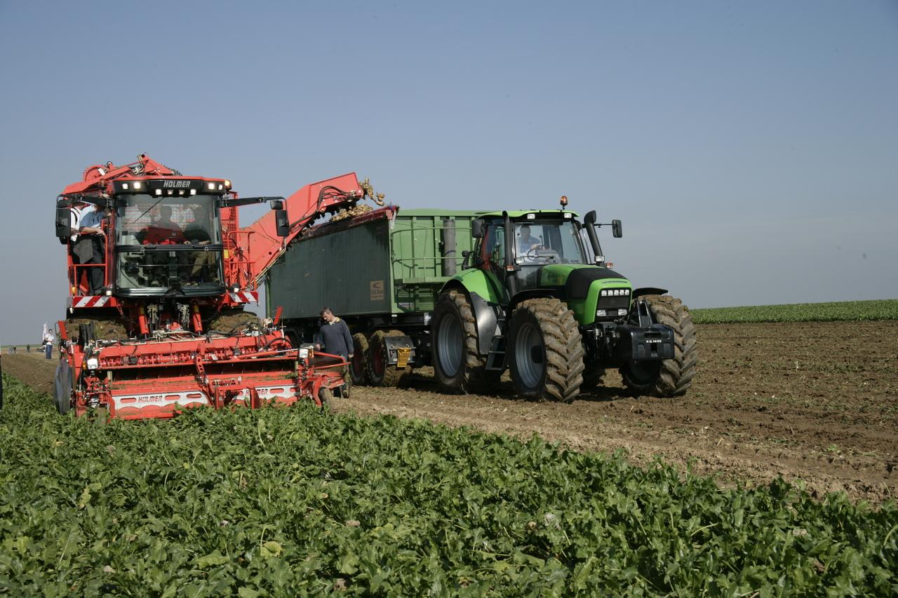 [Deutz-Fahr] trattore Agrotron 265 al lavoro con rimorchio durante lavoro nei campi