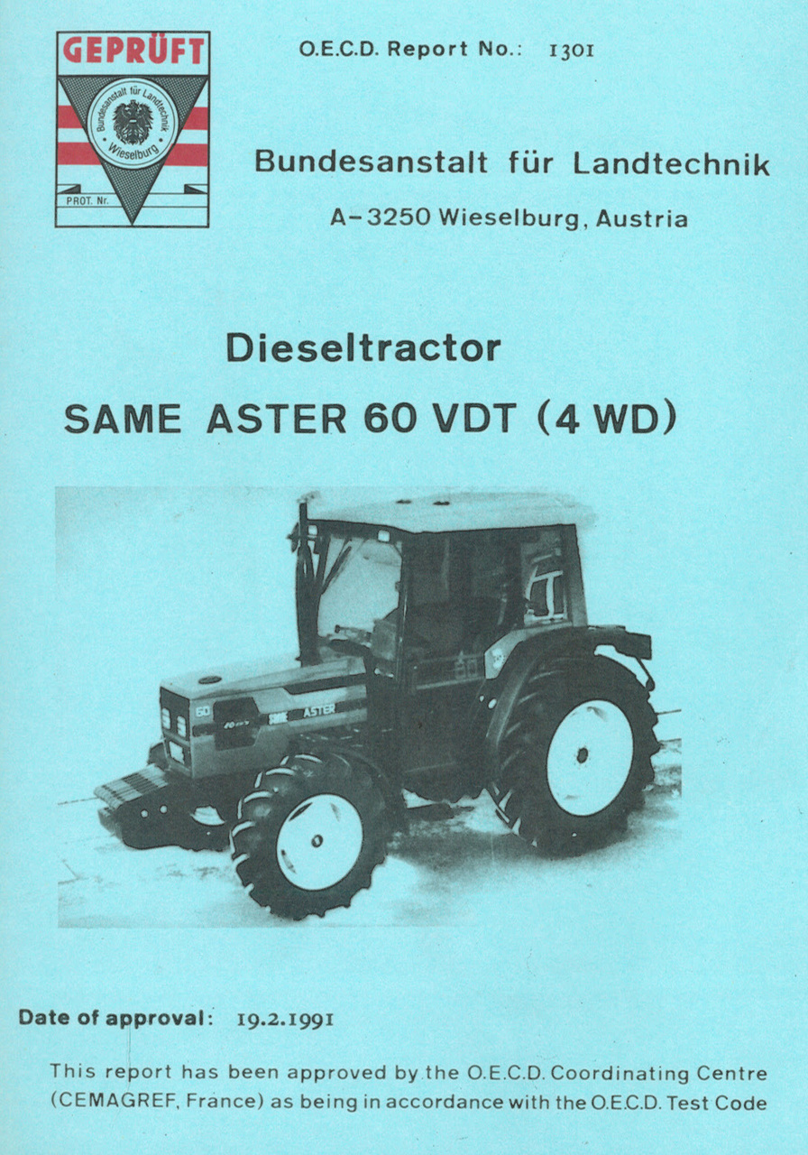 Report test of SAME Aster 60 VDT (4WD)