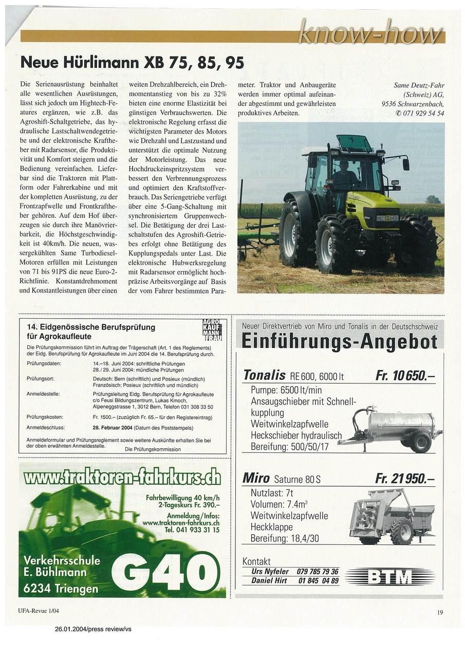 Neue Hurlimann XB 75,85,95