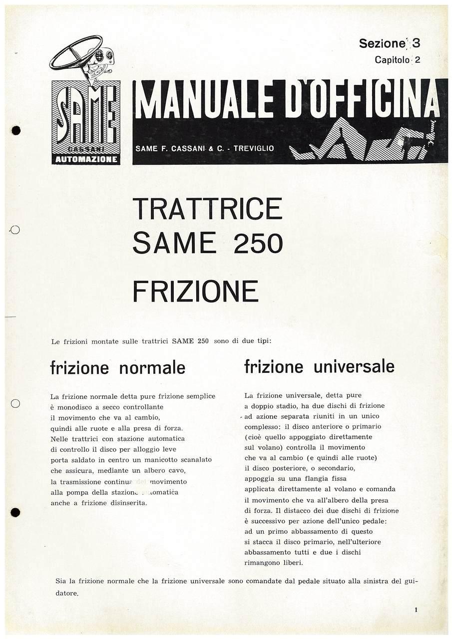 SAME 250 - Manuale di officina, Frizione