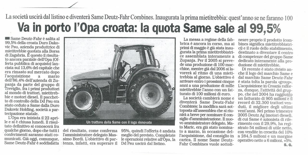 Va in porto l'Opa croata: la quota SAME sale al 99,5%