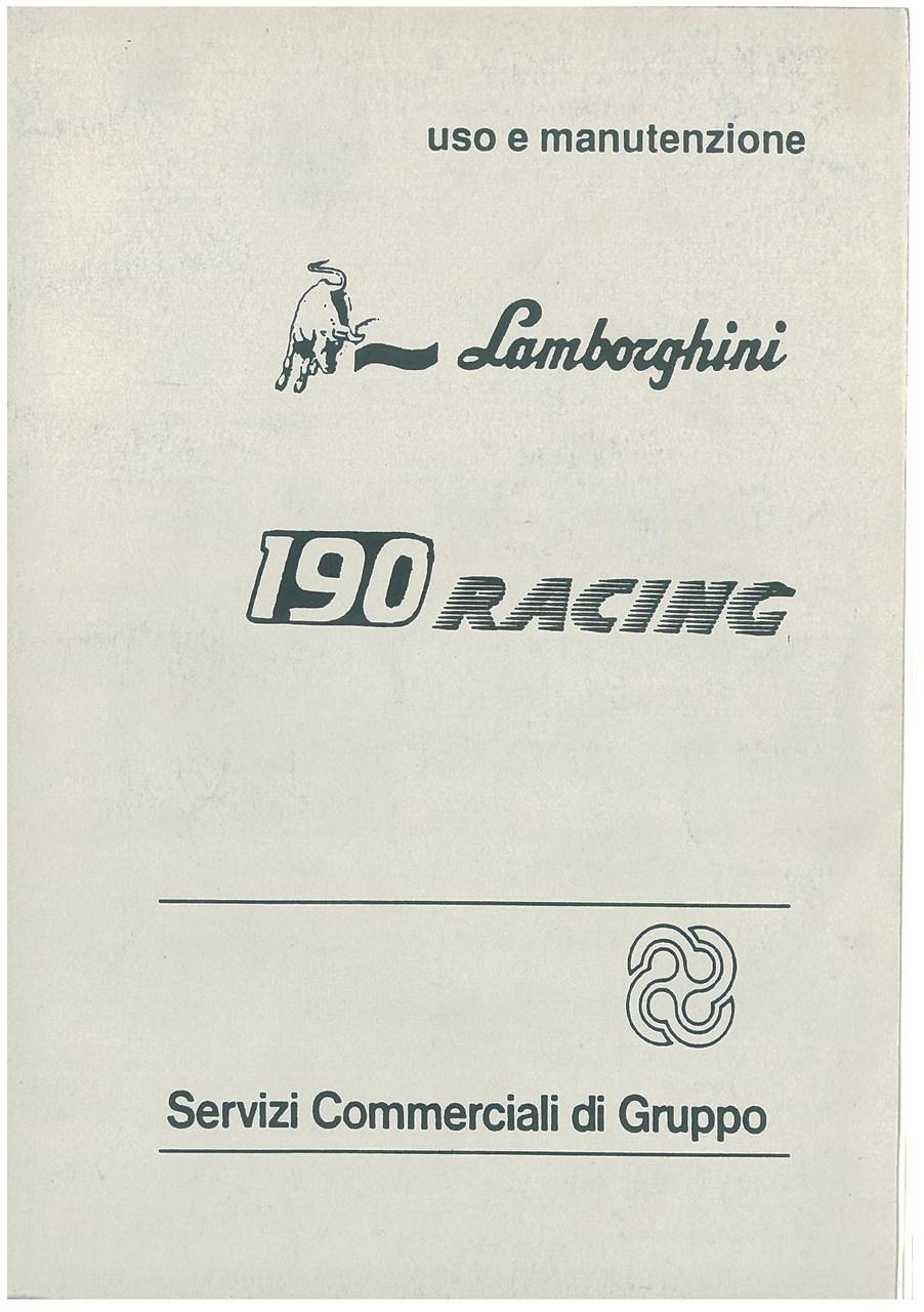 190 RACING - Libretto Uso & Manutenzione