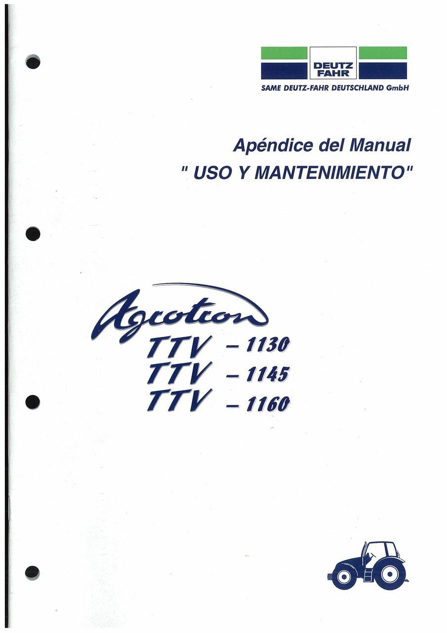 AGROTRON TTV 1130-1145-1160 - Uso y Mantenimiento (Appèndice)