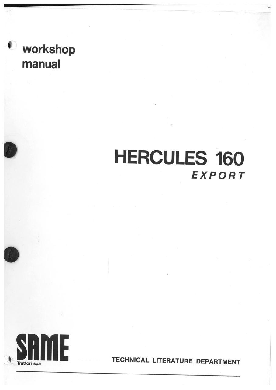 HERCULES 160 EXPORT - Workshop manual