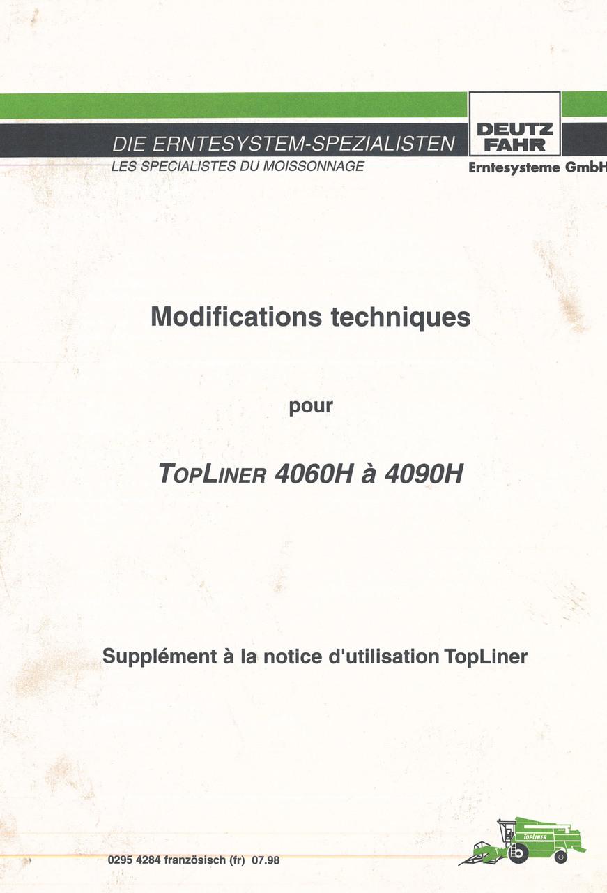 Modifications techniques pour TOPLINER 4060 H à 4090 H - Supplément à la notice d'utilisation Topliner