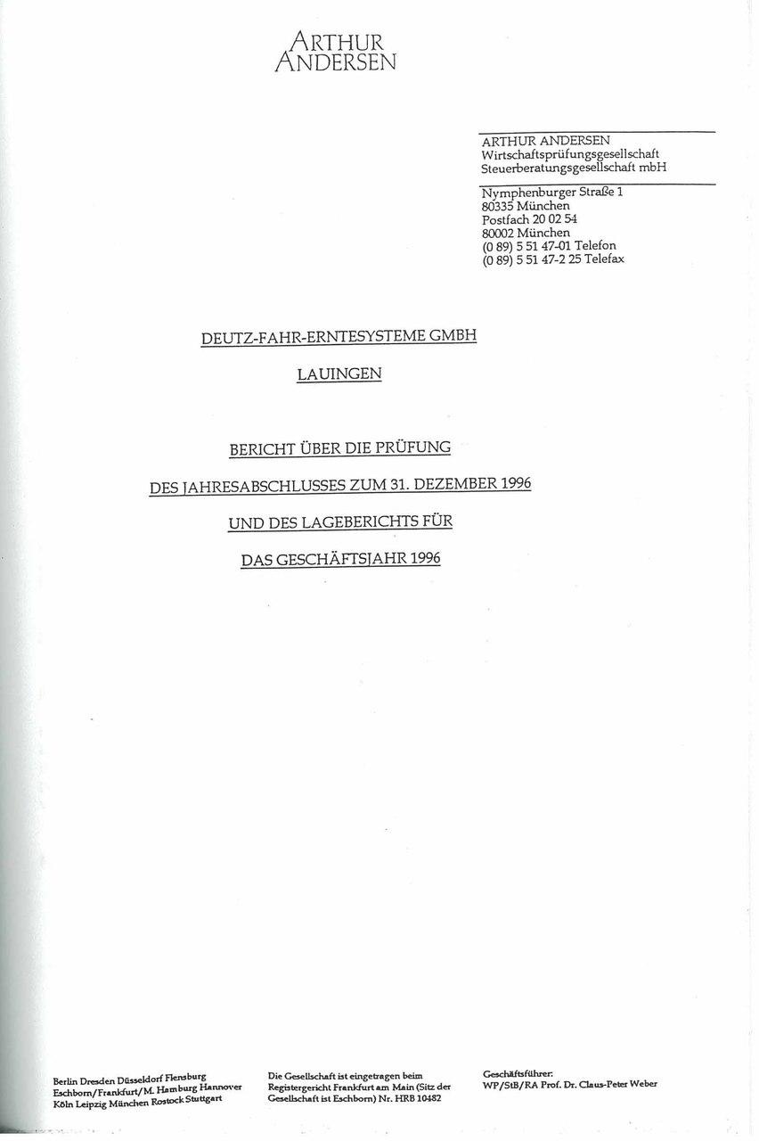 Deutz-Fahr Erntesysteme GMBH - Bilancio d'esercizio al 31-12-1996 e relazione della socità di revisione