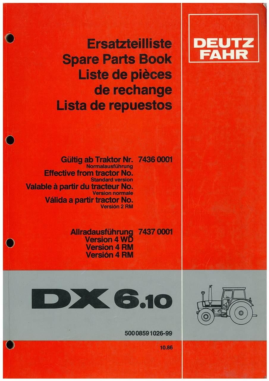 DX 6.10 - Ersatzteilliste / Spare Parts Book / Liste de pièces de rechange / Lista de repuestos