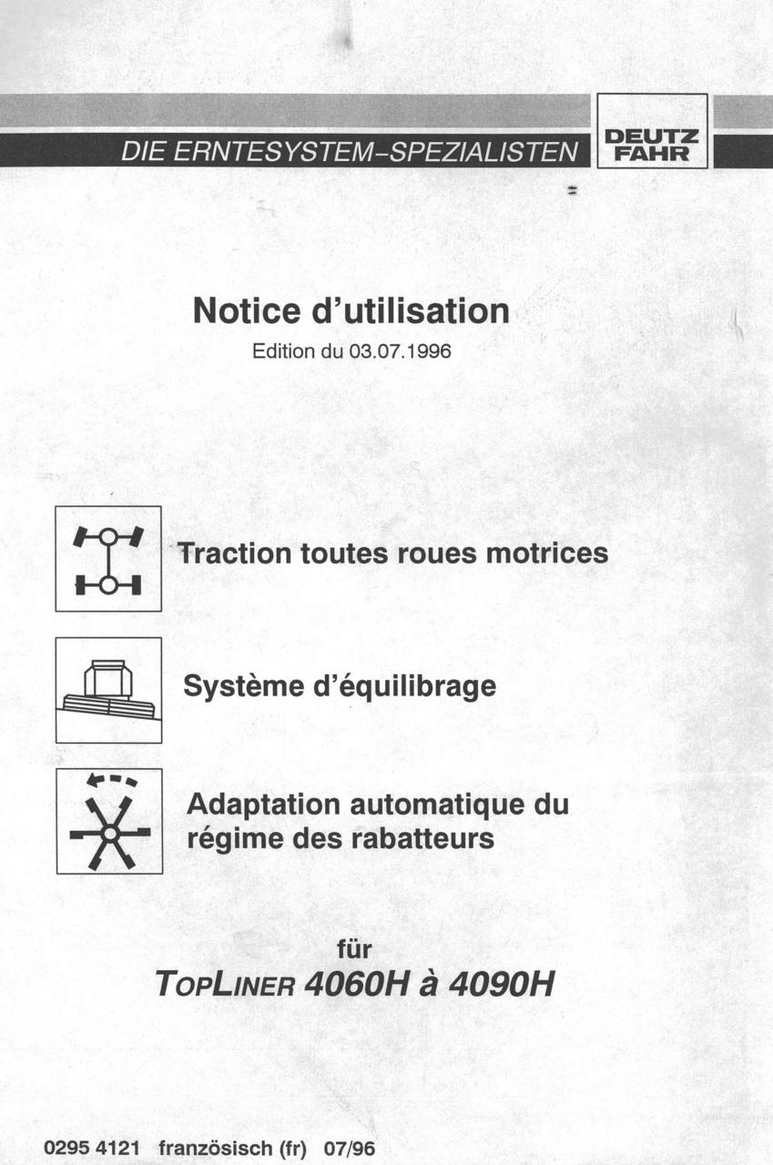 TOPLINER 4060 H à 4090 H - Notice d'utilisation