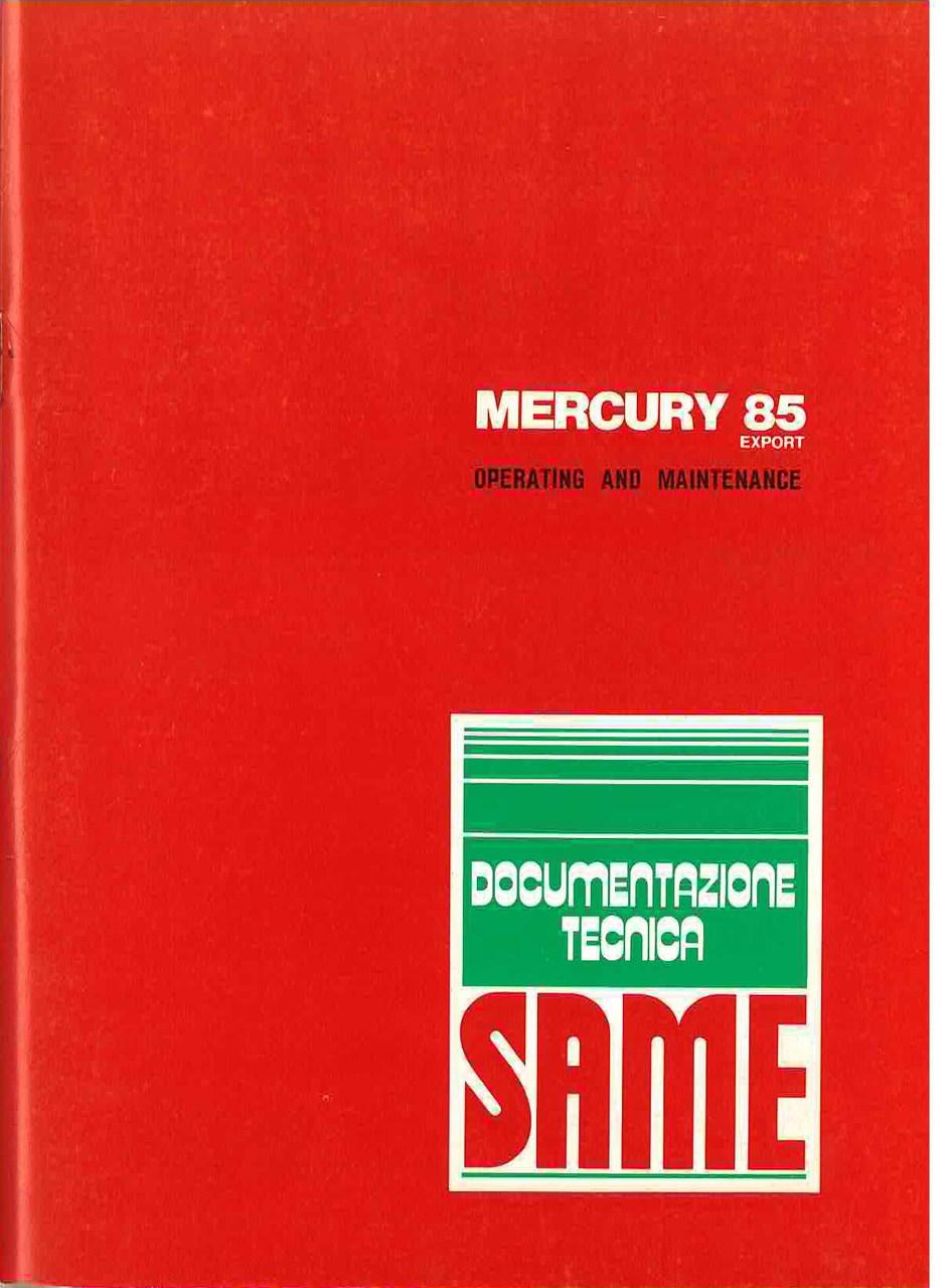 MERCURY 85 EXPORT- Operating and maintenance