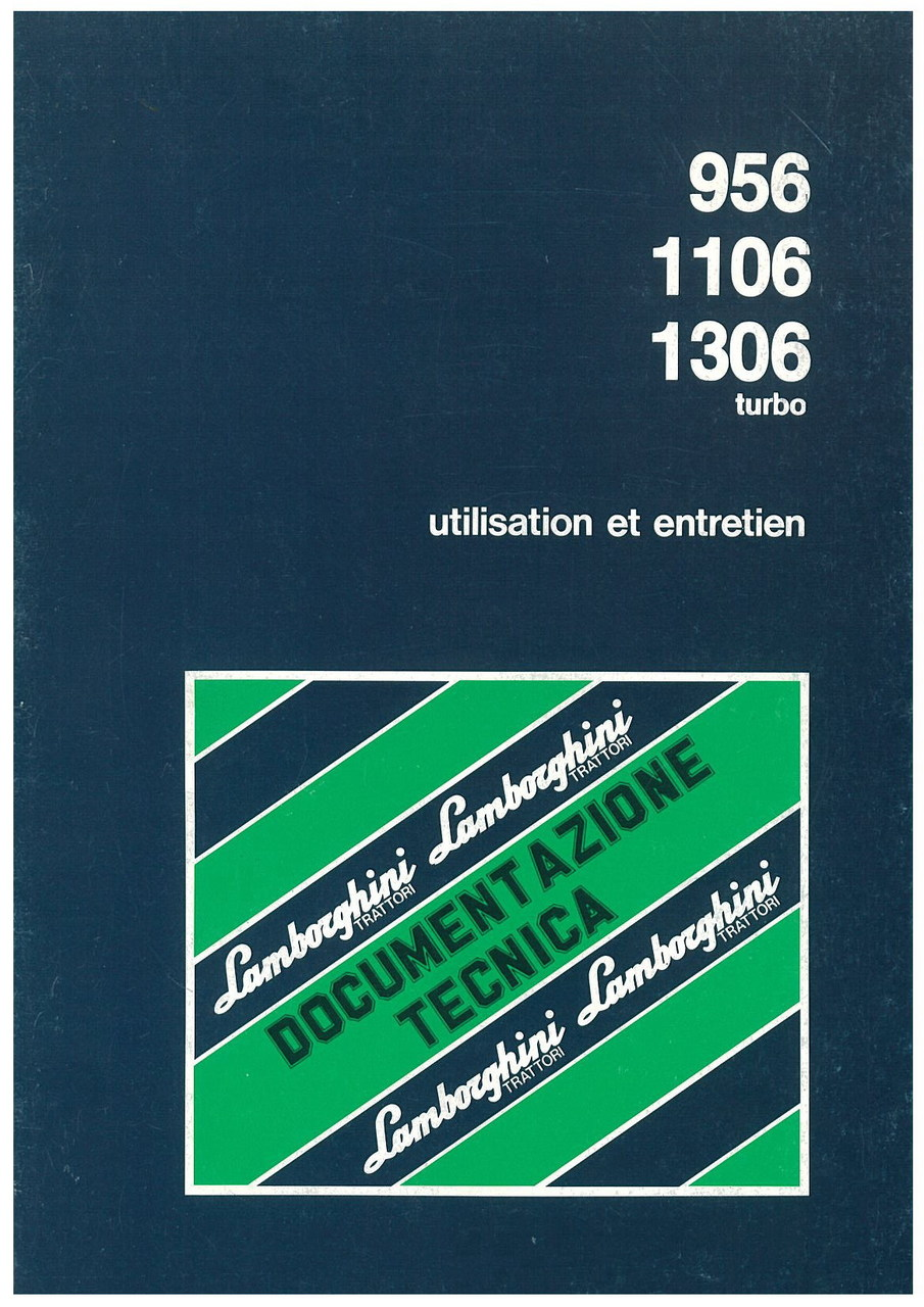 956/1106/1306 TURBO - Utilisation et Entretien