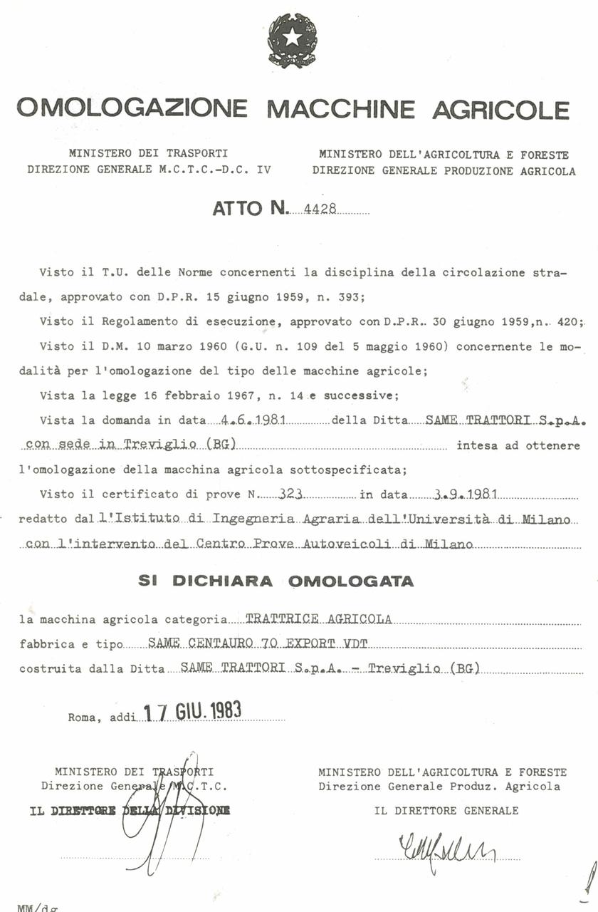 Atto di omologazione della trattrice SAME Centauro 70 Export VDT